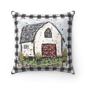 White Barn Square Pillow. Black and White checkered background. With or Without Pillow Insert. - Gin's Den