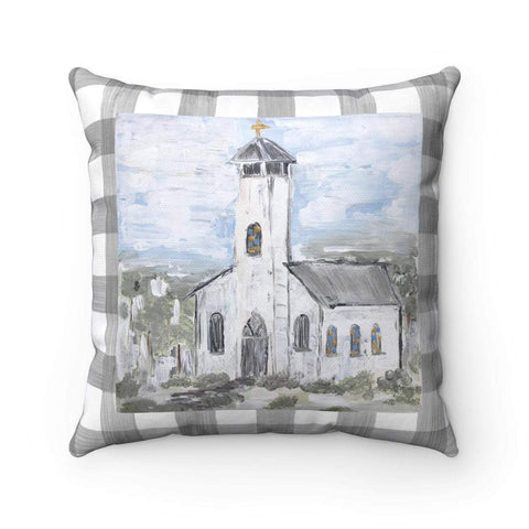 Gin's Den Pillows White Church Decorative Pillow. Gray Plaid background and back of pillow.  With or Without Pillow Insert.