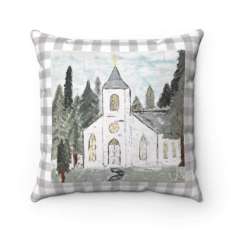 Gin's Den Pillows White Church in Forest Square Pillow. Cover Only or Add Pillow Insert. Decorative Accent Pillow.