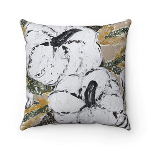 White Pumpkin Prints of Original Art - Spun Polyester Square Pillow with or without insert. - Gin's Den