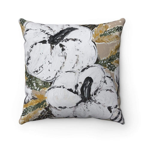 Gin's Den Pillows White Pumpkin Prints of Original Art - Spun Polyester Square Pillow with or without insert. Decorative Fall Decor.