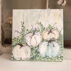 Gin's Den Prints Pumpkin Patch (muted colors) Print Of Original Art - Printed On Fine Art Paper or Canvas - Looks Like Original Painting -  Beautiful Quality