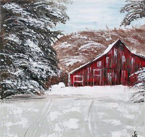 Gin's Den Prints Red Barn in Winter. Print Of Original Art - Printed On Fine Art Paper or Canvas - Looks Like Original Painting -  Beautiful Quality