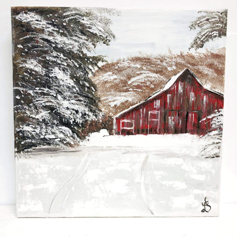 Original. Winter Red Barn Original Painting - Gin's Den