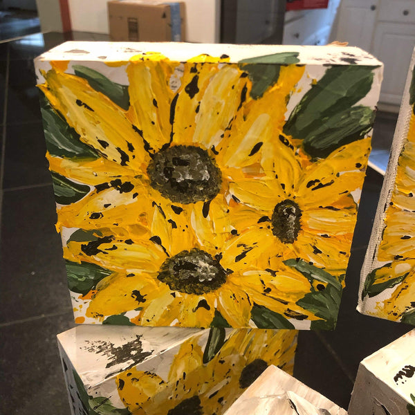 Original 5x5 Shelf Sitter. Sunflowers - Gin's Den