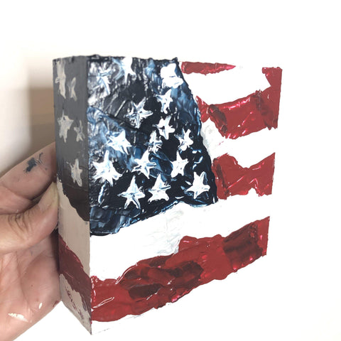 Original Art. American Flag Shelf Sitter - Gin's Den
