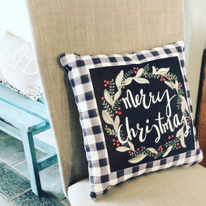 Pillow. Handpainted Gins Den Art, Printed Onto A Spun Polyester Square Pillow, Merry Christmas Decorative Pillow, Christmas Pillows, Black and white - Gin's Den
