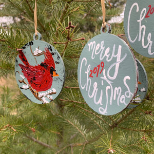 Cardinal Hand Painted Ornament Personalized