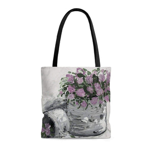 Printify Bags Medium Purple Floral. Tote Bag. Print of Ginger Lacour's Original Artwork.