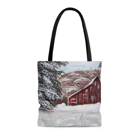 Printify Bags Medium Red Barn in Winter.  Tote Bag. Double Sided Print. Print of Ginger LaCour's artwork