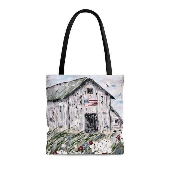 USA Barn.  Cute Tote Bag. Ginger LaCour's painting printed on both sides. - Gin's Den