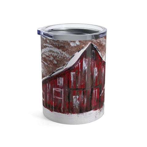 Red Barn in Winter.Tumbler 10oz - Gin's Den