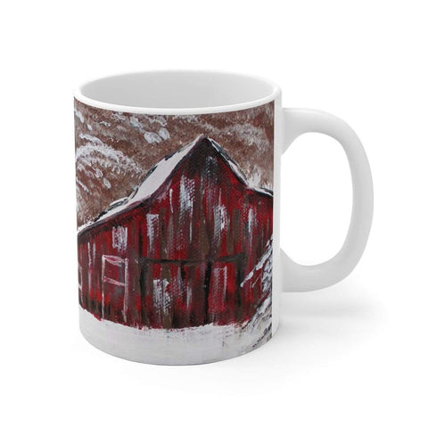 Red Barn in Winter. White Ceramic Mug - Gin's Den