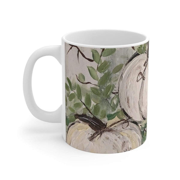 Pumpkin Patch Muted White Ceramic Mug - Gin's Den