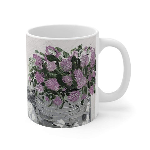 Purple Floral White Ceramic Mug - Gin's Den