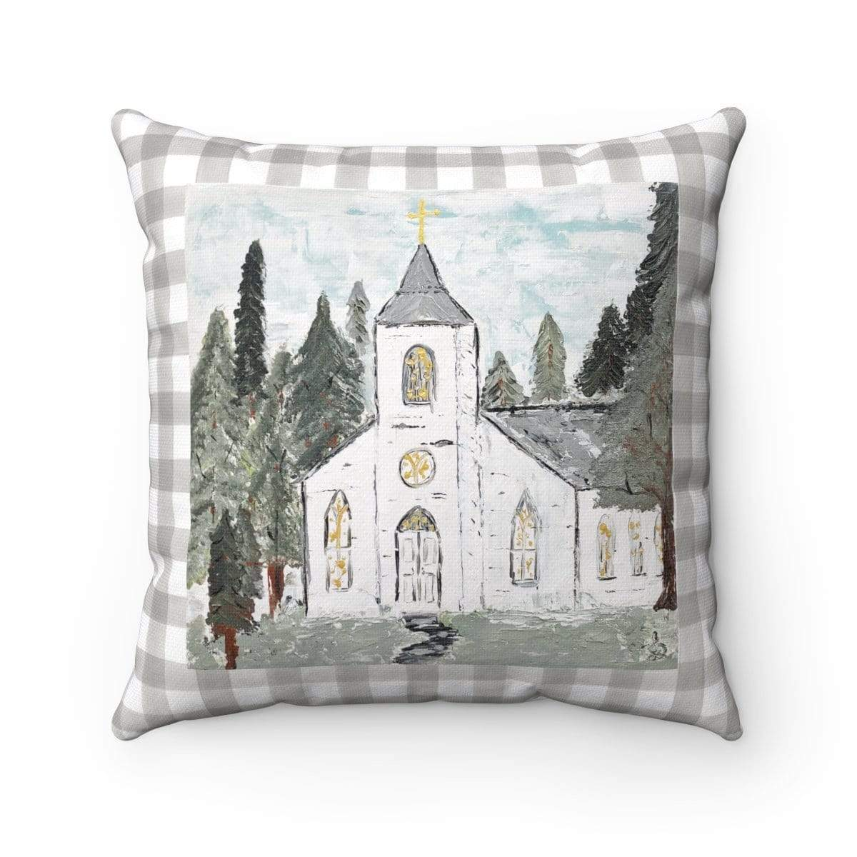 Pillow. White Church in Forest Square Pillow - Gin's Den