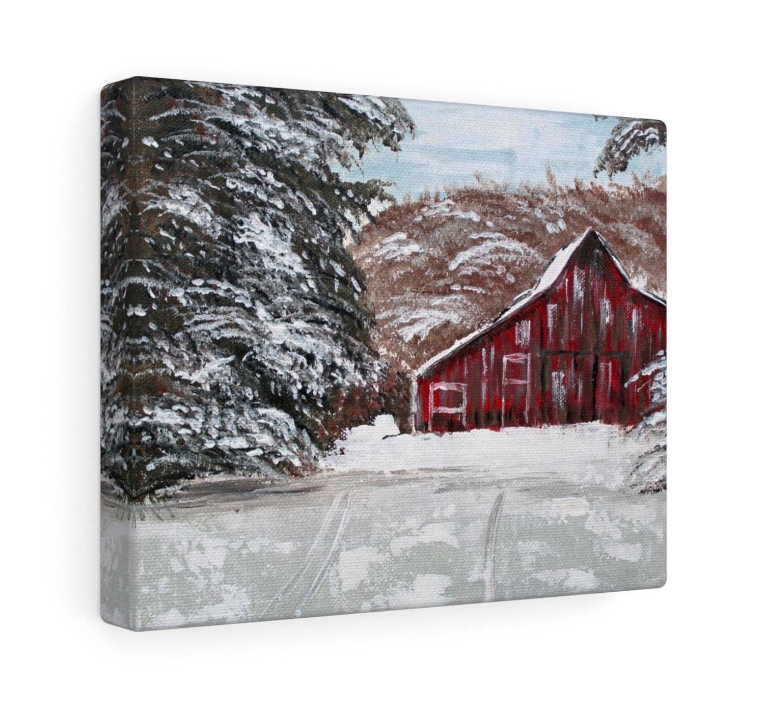 Red Barn in Winter. Print Of Original Art - Printed On Fine Art Paper or Canvas - Gin's Den