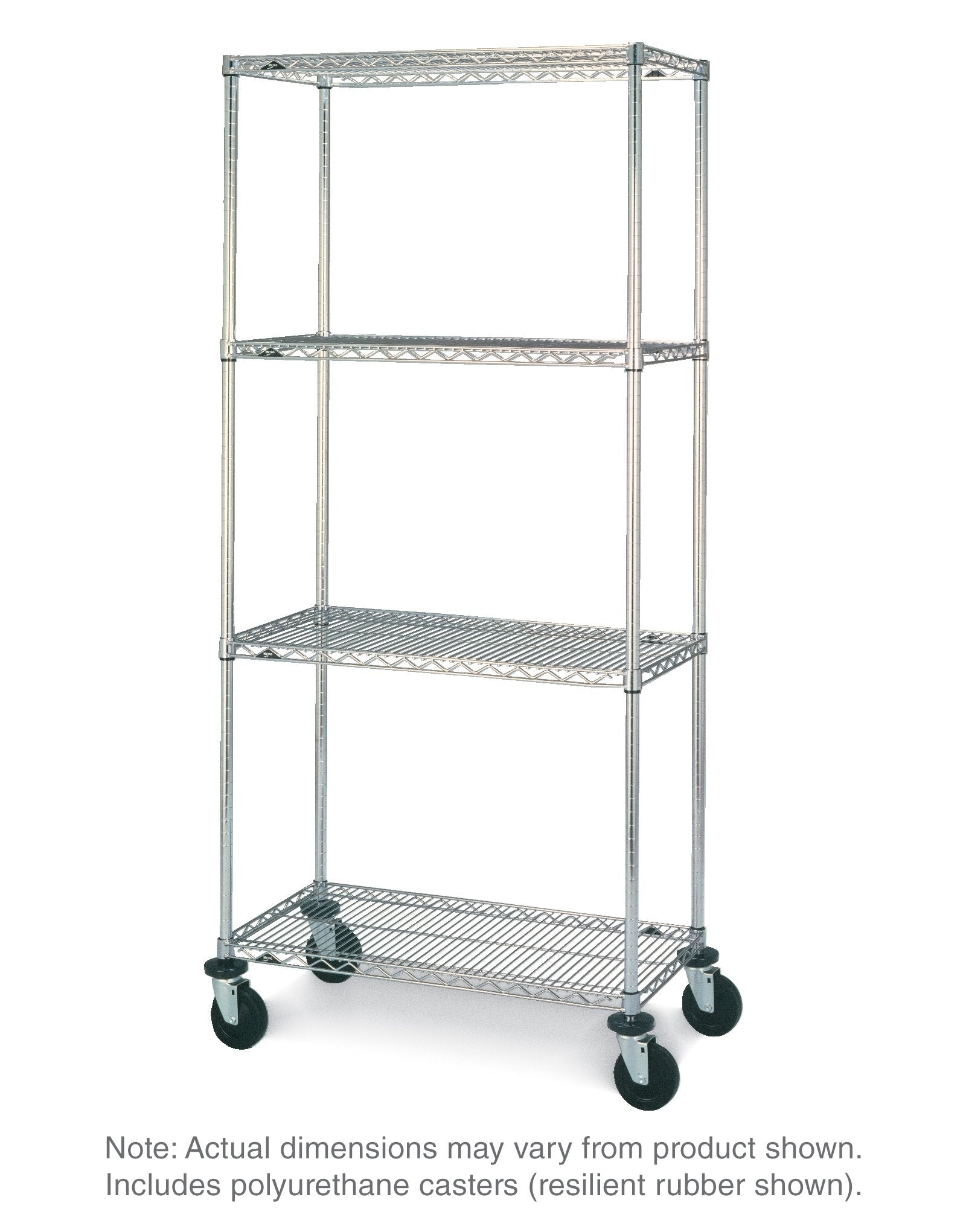 Super Erecta Stem Caster Cart Unit - 4 Shelves