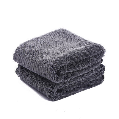 Microfiber Car Drying Towel Super Absorbent Twist Pile 600 GSM Rapid Drying Large Cleaning Lint-Free Detailing Cloth (Gray, 2-Pack)