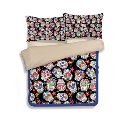 3D Skull Print 3 Pieces Bed Set (More Styles for You) - Laizis