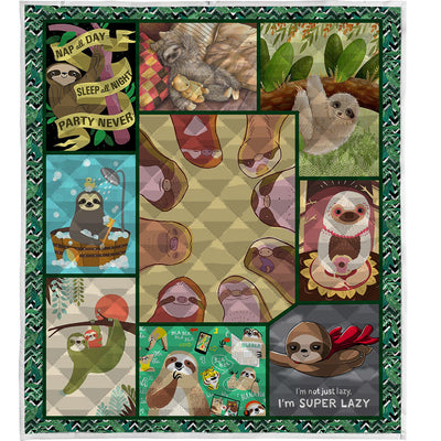 Cute Sloth Quilt Blanket