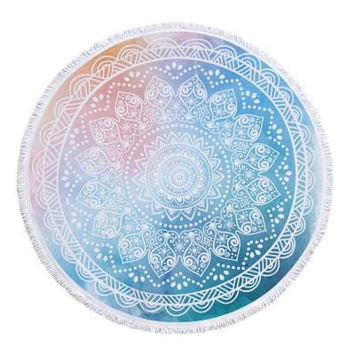 Mandala Thick Terry Round Towel for Yoga, Mediation and Travel