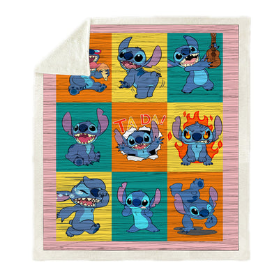 Stitch Lovers Fleece Throw Blanket for Sofa Bedding