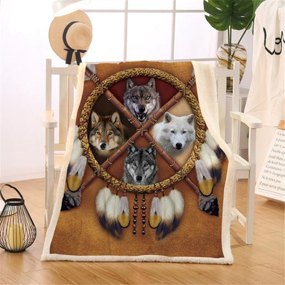 Wolves Dreamcatcher Plush Sherpa Throw Blanket