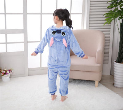 Blue Stitch and Pink Stitch Children Pajamas Kigurumi Cosplay Costume Animal Winter Onesie Sleepwear - Laizis