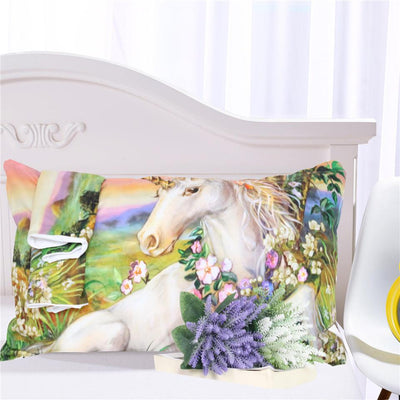 3D Unicorn with Flower Duvet Cover Bedding Set - Laizis