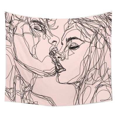 Kissing Lover Tapestry Headboard Wall Art Bedspread Dorm Tapestry Home Decor