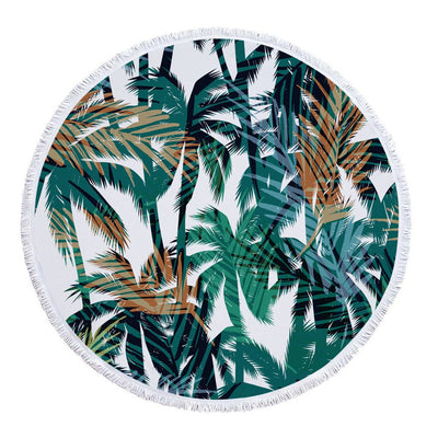 SOFTBATFY Green Tropical Leaves Thick Terry Round Beach Towel/Round Yoga Mat with Fringe Tassels