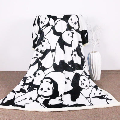 Panda Plush Sherpa Throw Blanket