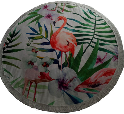 SOFTBATFY Flamingo with Flower Thick Terry Round Beach Towel/Round Yoga Mat with Fringe Tassels