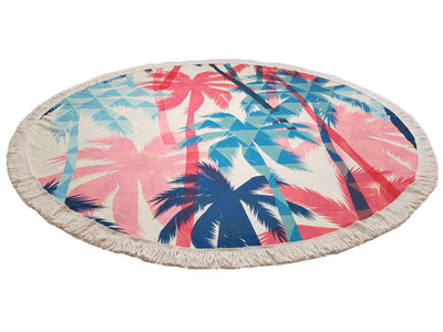 SOFTBATFY Pink Tropical Leaves Thick Terry Round Beach Towel/Round Yoga Mat with Fringe Tassels