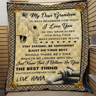To My Grandson from Grandma NANA Quilt Blanket