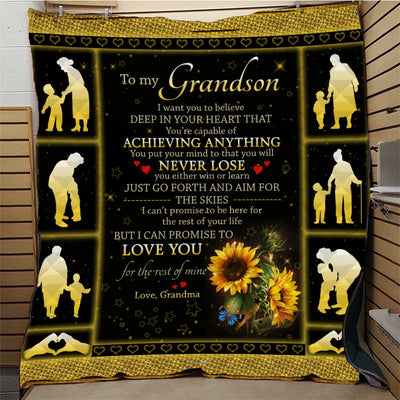 To My Grandson Quilt Blanket