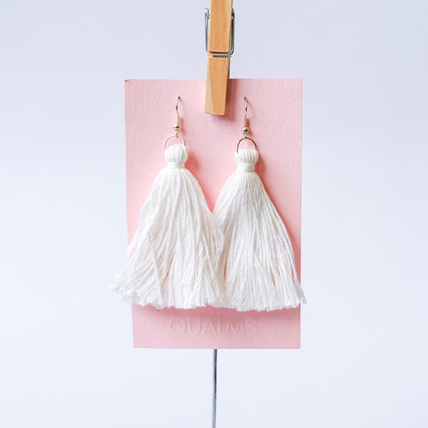 White tassel earrings - Qualms