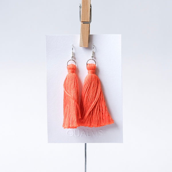 Orange tassel earrings - Qualms