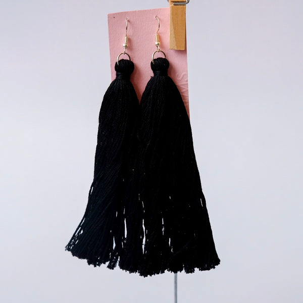 Long black tassels earrings - Qualms