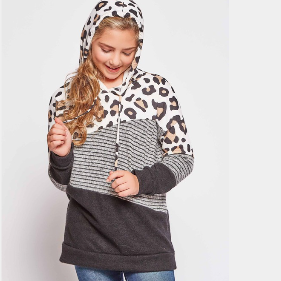 Stripe Leopard Colour Block Hoodie | Girls