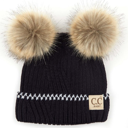 CC Beanies for Baby | Black with Double Pom Pom