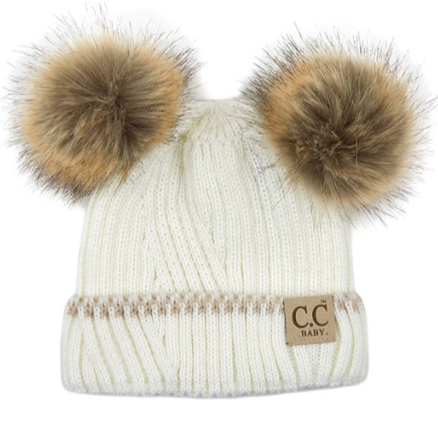 CC Beanies for Baby | Cream with Double Pom Pom