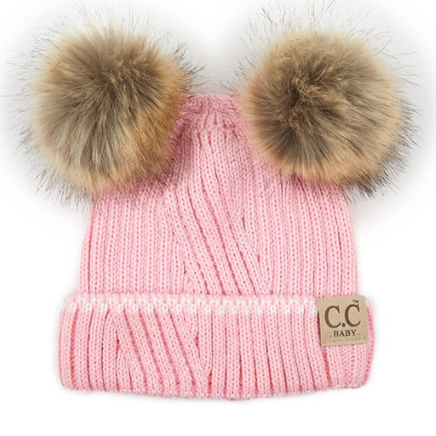 CC Beanies for Baby | Pink with Double Pom Pom