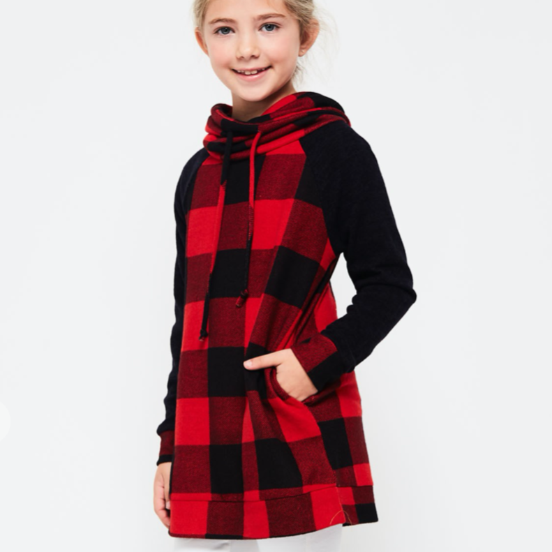 Buffalo Plaid Cowl Neck Sweater | Girls