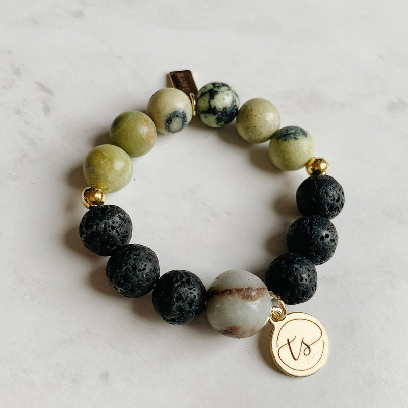 Bracelets for Girls (Toddler) - Green Jasper, Lava Rock and Onyx