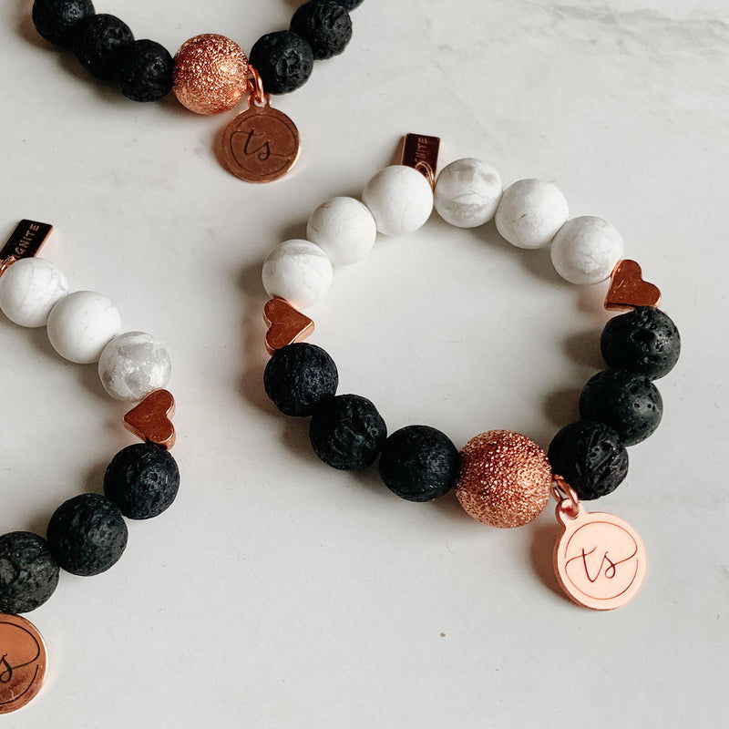 Bracelets for Girls (Toddler) - Howlite, Lava Rock and Rosegold