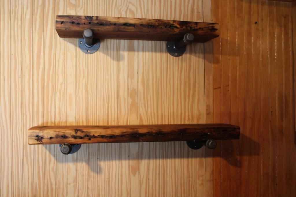Industrial Pipe Shelves with Reclaimed Wood