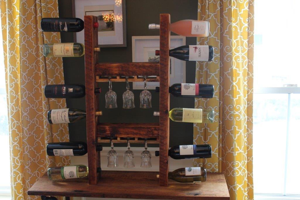 12 Bottle Wine Rack with 6 Glass Holder