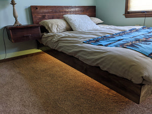Custom Rustic Floating Queen Size Bed with Nightstand